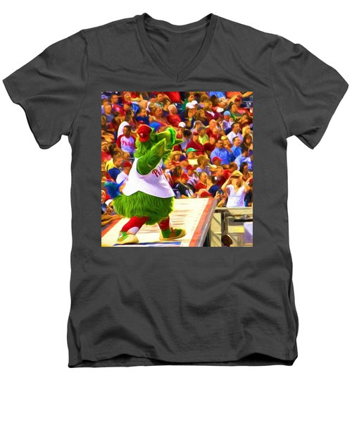 Men's V-Neck T-Shirt featuring the photograph Phanatic In Action by Alice Gipson