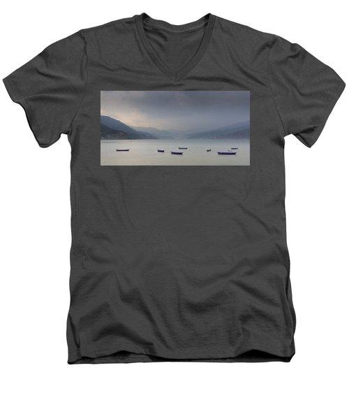 Phewa Lake In Pokhara Men's V-Neck T-Shirt