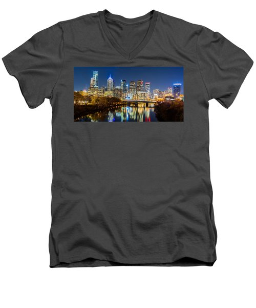Philadelphia Cityscape Panorama By Night Men's V-Neck T-Shirt