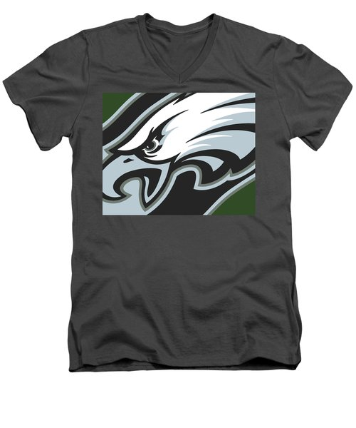 Philadelphia Eagles Football Men's V-Neck T-Shirt by Tony Rubino