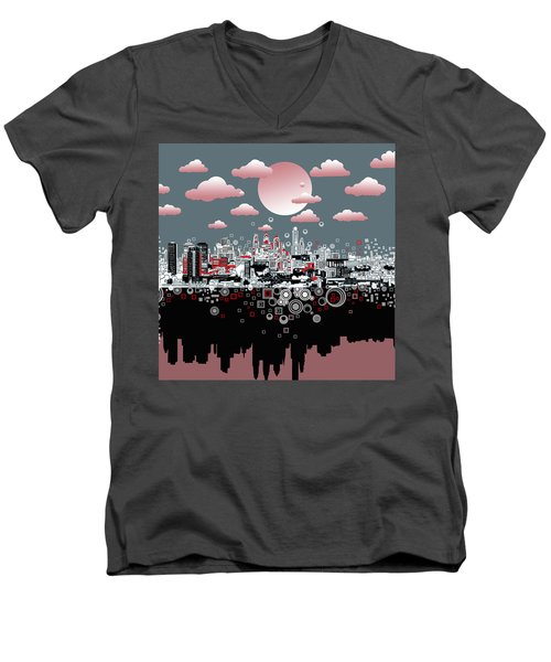 Philadelphia Skyline Abstract 6 Men's V-Neck T-Shirt
