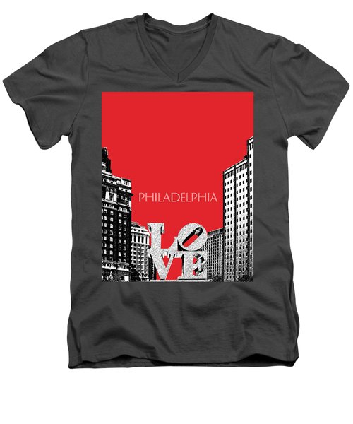 Philadelphia Skyline Love Park - Red Men's V-Neck T-Shirt
