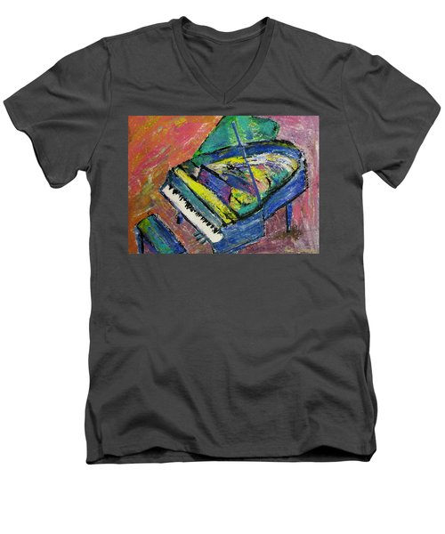 Piano Blue Men's V-Neck T-Shirt