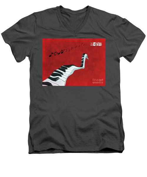 Piano Fun - S01at01 Men's V-Neck T-Shirt by Variance Collections