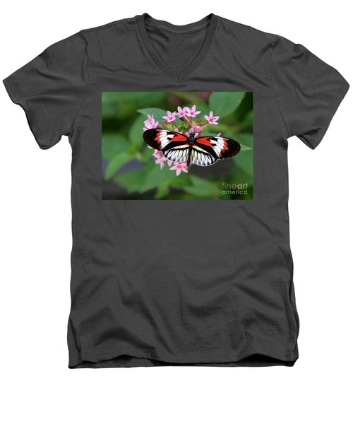 Piano Key Butterfly On Pink Penta Men's V-Neck T-Shirt