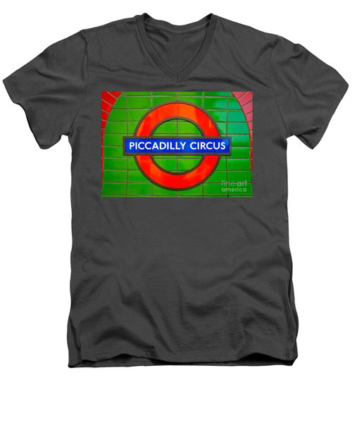 Men's V-Neck T-Shirt featuring the photograph Piccadilly Circus Tube Station by Luciano Mortula