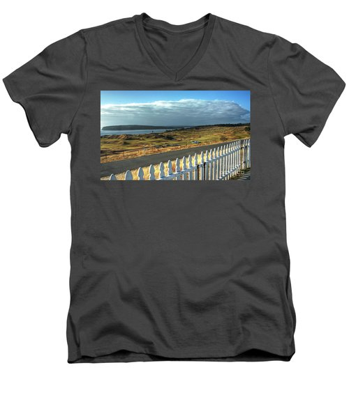 Men's V-Neck T-Shirt featuring the photograph Picket Fence - Chambers Bay Golf Course by Chris Anderson
