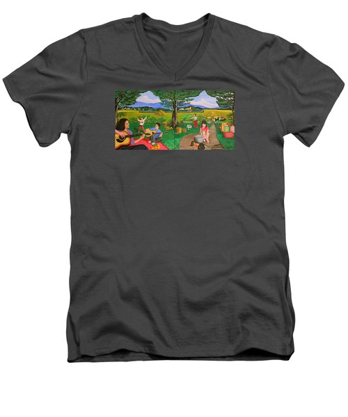 Men's V-Neck T-Shirt featuring the painting Picnic With The Farmers And Playing Melodies Under The Shade Of Trees by Lorna Maza