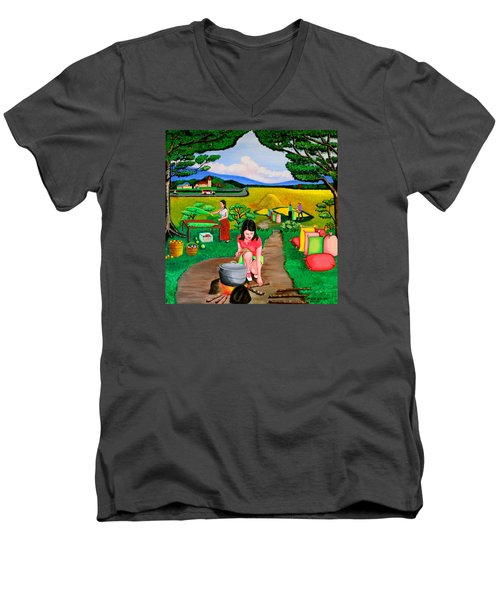 Men's V-Neck T-Shirt featuring the painting Picnic With The Farmers by Lorna Maza