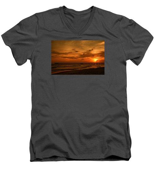 Pier At Sunset Men's V-Neck T-Shirt by Sandy Keeton