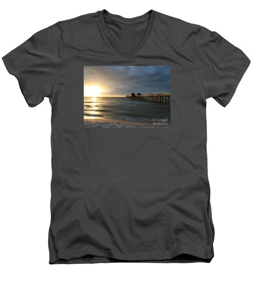 Pier Sunset Naples Men's V-Neck T-Shirt