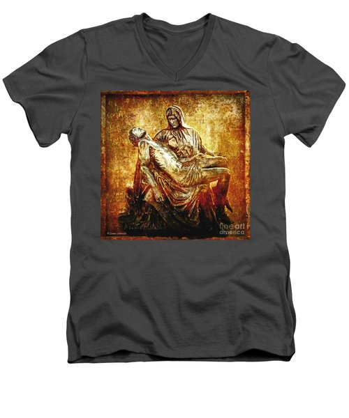 Pieta Via Dolorosa 13 Men's V-Neck T-Shirt by Lianne Schneider