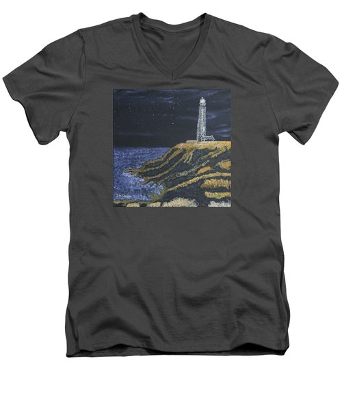 Men's V-Neck T-Shirt featuring the painting Pigeon Lighthouse Night Scumbling Complementary Colors by Ian Donley