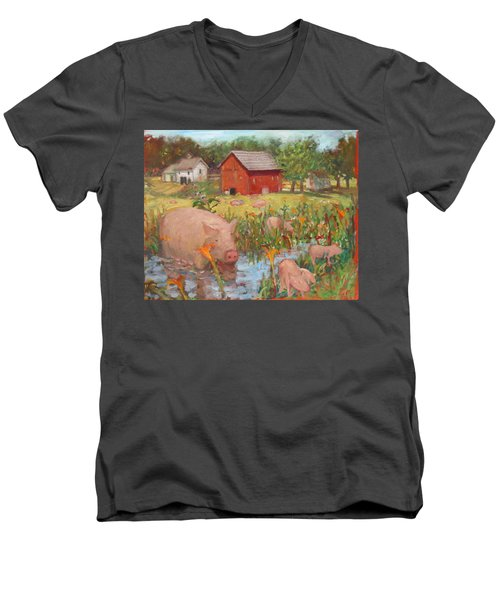 Pigs And Lilies Men's V-Neck T-Shirt