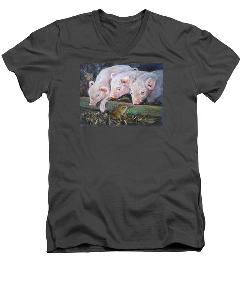 Men's V-Neck T-Shirt featuring the painting Pigs Vs Mouse by Jieming Wang
