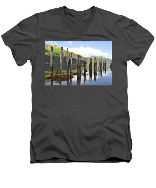 Men's V-Neck T-Shirt featuring the photograph Pilings by Cathy Mahnke