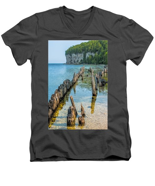 Pilings On Lake Michigan Men's V-Neck T-Shirt by Paul Freidlund