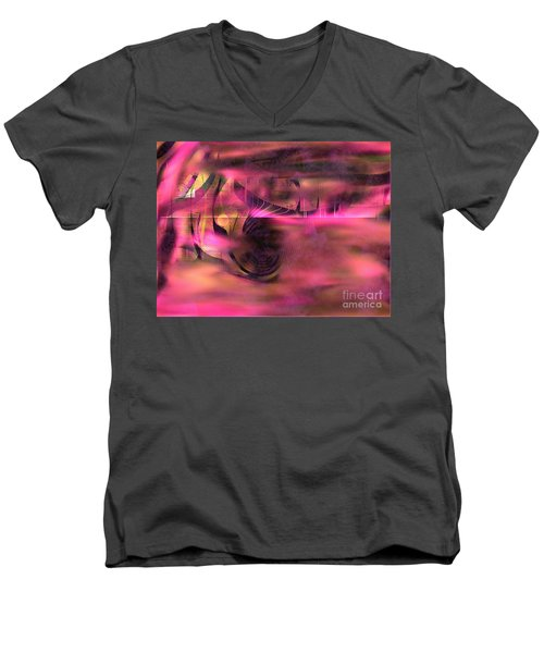 Men's V-Neck T-Shirt featuring the painting Pink Abstract Nature by Yul Olaivar