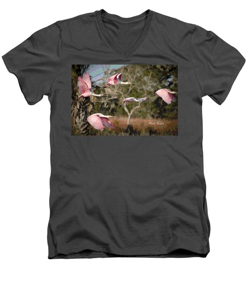 Pink And Feathers Men's V-Neck T-Shirt