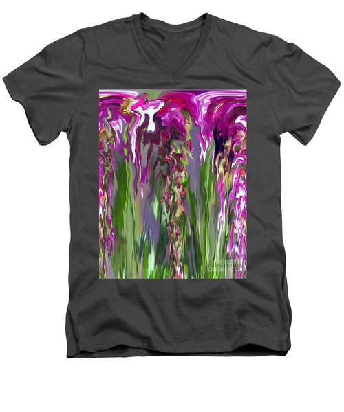 Pink And Green Floral Men's V-Neck T-Shirt by Cedric Hampton