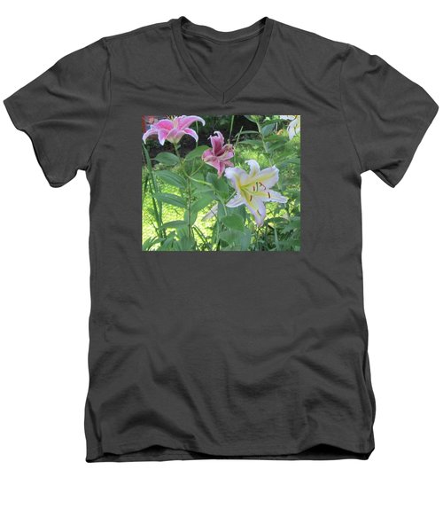 Pink And White Stargazer Lilies Men's V-Neck T-Shirt