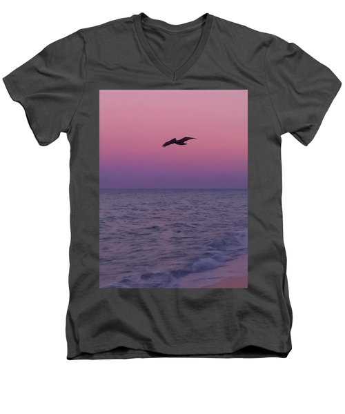 Pink Beach Sunset Men's V-Neck T-Shirt
