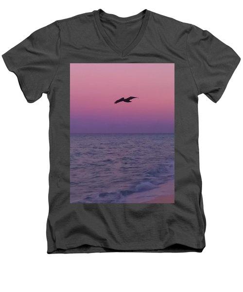 Pink Beach Sunset Men's V-Neck T-Shirt
