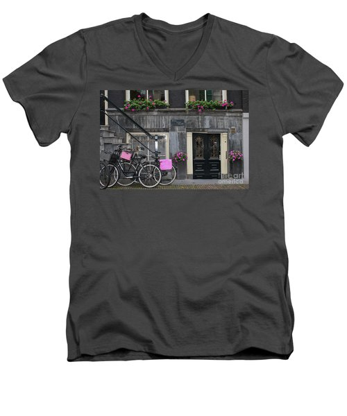 Pink Bikes Of Amsterdam Men's V-Neck T-Shirt by Mary-Lee Sanders