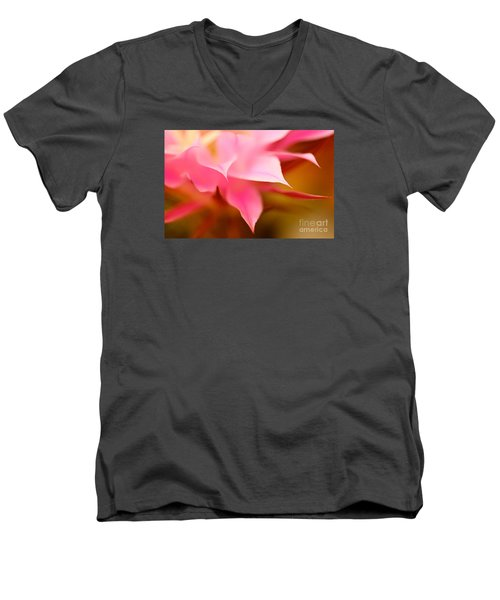 Pink Cactus Flower Abstract Men's V-Neck T-Shirt by Michael Cinnamond