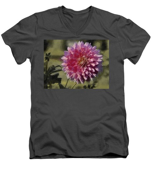 Men's V-Neck T-Shirt featuring the painting Pink Dahlia by Jeff Kolker