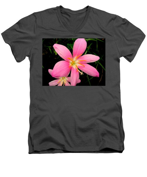 Men's V-Neck T-Shirt featuring the photograph Pink Day Lily by Cynthia Amaral