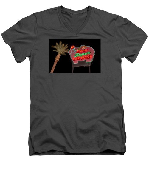 Pink Elephant Car Wash 36 X 24 Men's V-Neck T-Shirt