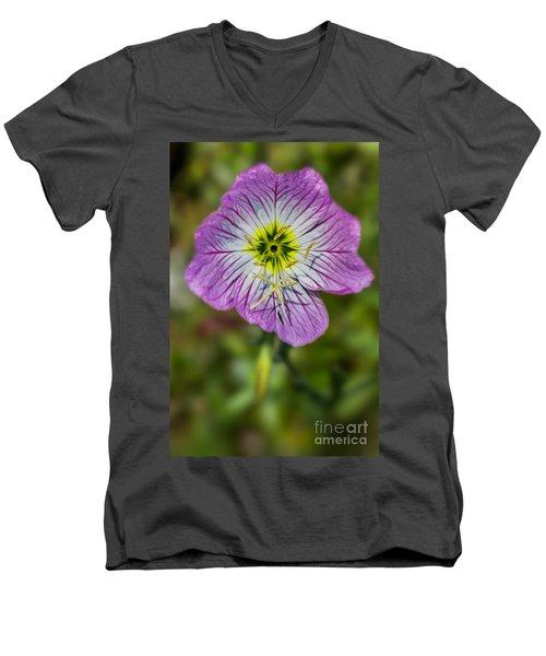 Pink Evening Primrose Men's V-Neck T-Shirt