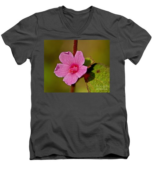 Men's V-Neck T-Shirt featuring the photograph Pink Flower by Olga Hamilton