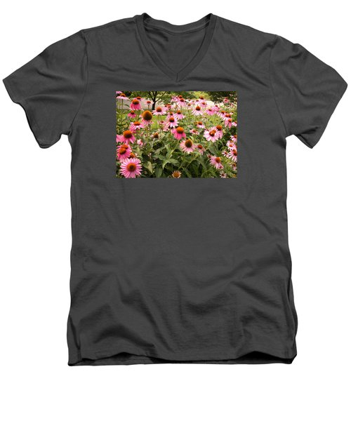 Pink Flowers Men's V-Neck T-Shirt