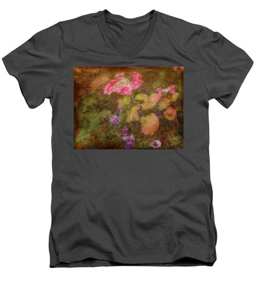 Pink Hydrangea And Purple Pansies Men's V-Neck T-Shirt