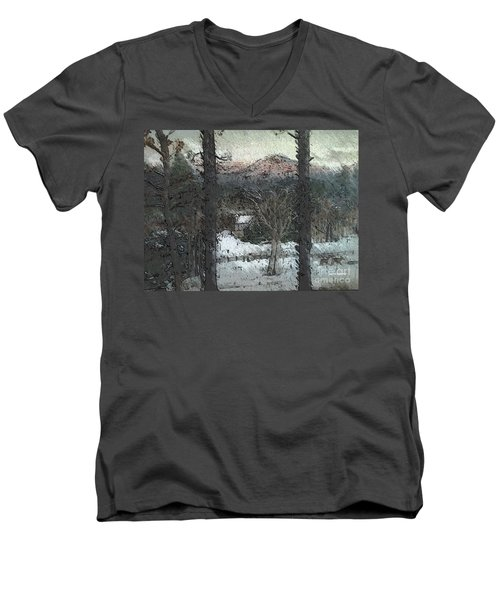 Men's V-Neck T-Shirt featuring the painting Snow - Pink Mountain - Blueridge Mountains by Jan Dappen