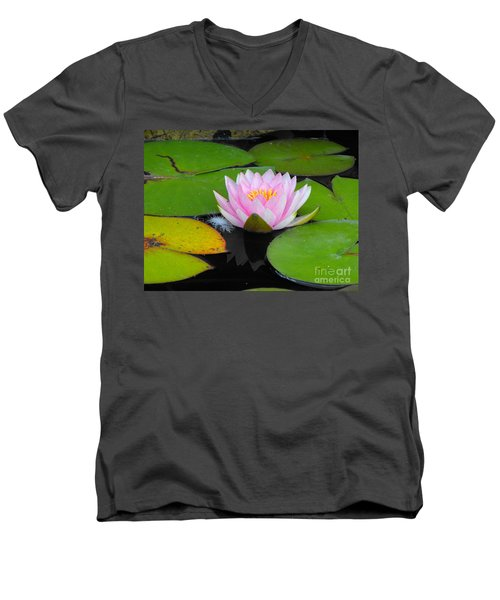 Pink Lilly Flower Men's V-Neck T-Shirt