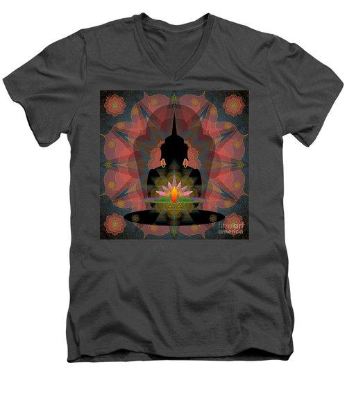 Pink Lotus Buddha Men's V-Neck T-Shirt
