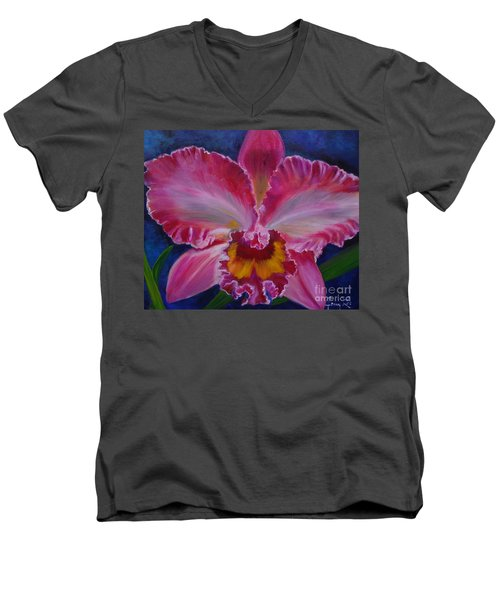 Men's V-Neck T-Shirt featuring the painting Pink Orchid by Jenny Lee