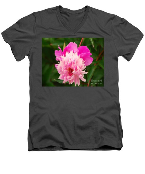 Men's V-Neck T-Shirt featuring the photograph Pink Peony by Mary Carol Story