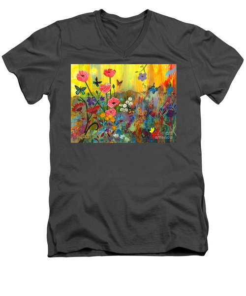 Men's V-Neck T-Shirt featuring the painting Pink Poppies In Paradise by Robin Maria Pedrero