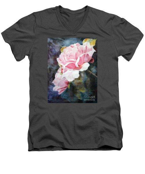 Pink Rose Caroline Men's V-Neck T-Shirt by Greta Corens