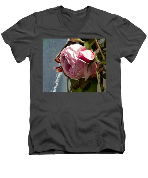 Men's V-Neck T-Shirt featuring the photograph Pink Rose In Half Profile.2014 by Leif Sohlman