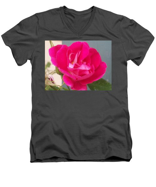 Men's V-Neck T-Shirt featuring the photograph Pink Rose by Jewel Hengen