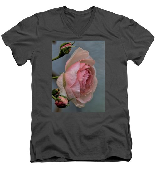 Men's V-Neck T-Shirt featuring the photograph Pink Rose by Leif Sohlman