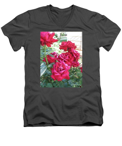 Men's V-Neck T-Shirt featuring the photograph Pink Roses by Chrisann Ellis
