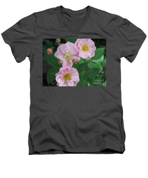 Pink Roses Men's V-Neck T-Shirt by HEVi FineArt