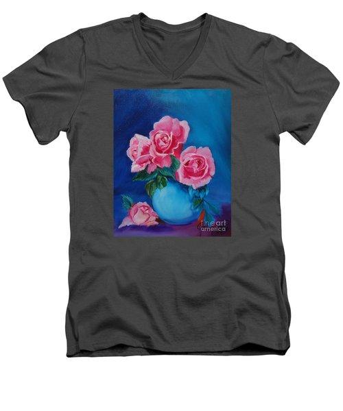 Pink Roses Men's V-Neck T-Shirt by Jenny Lee