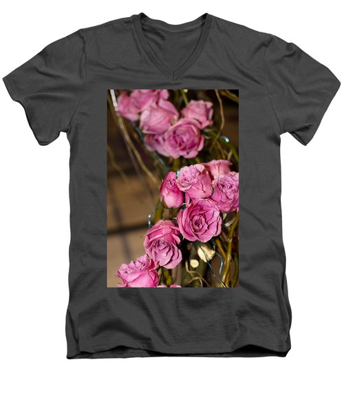 Men's V-Neck T-Shirt featuring the photograph Pink Roses by Patrice Zinck
